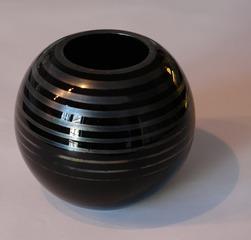 Vase - Glasvase, Vase, schwarz, Kugel, Kugelvase, Hohlgefäß, Dekoration, Blumenvase, Hohlkugel, Glas, rund
