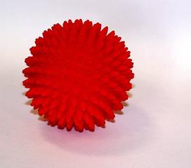 Massageball - Massageball, Noppenball, Ball, Kugel, rot, stachelig, Gummi
