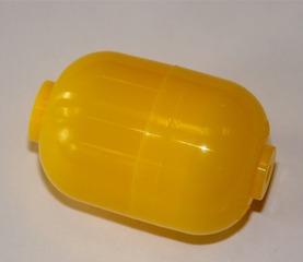 Plastikdose - Überraschungsei, Kinderüberraschung, gelb, Plastikdose, Ü-Ei, Ellipsoid, Behälter, Verpackung, Kunststoff