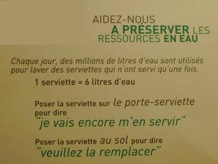 Hinweis zum Wassersparen - frz - préserver, eau, ressources, écologie, Ökologie