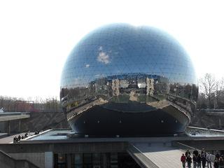 La Géode - Paris, Geode, Cite des Sciences, Villette, Kino, Reflexion, Spiegel, Wölbspiegel, Optik, Kugel