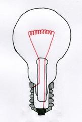 Glühlampe Querschnitt - Glühbirne, Glühlampe, Lichtquelle, elektrischer Leiter, Schraubsockel, Glühwendel, thermische Strahlung, Wärmeleitung, Elektrizität, Strom, Stromkreis, Physik, Querschnitt