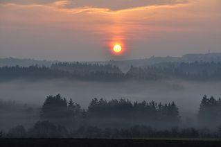 Morgennebel - Nebel, Nebelschwaden, neblig, Landschaft, Morgen, morgens, Stimmung, Erzählanlass, Kalenderbild, Wetter, Sonnenaufgang