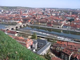 Würzburg - Würzburg, Festung, Altstadt, Main, Fluss, Alte Mainbrücke, Steinbrücke, Brücke, Stadt