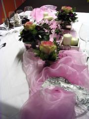 Tischdeko Hochzeit#2 - Tischdekoration, Hochzeit, weiß, rosa, Platzteller, Teller, Besteck, Messer, Gabel, Serviette, Glas, Weinglas