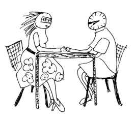 Herr Ticktack - sich treffen, romantisch, sitzen, Tisch