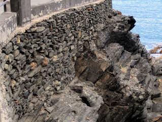 Typische Mauern auf den Kanarischen Inseln #2 - Mauer, Mauern, Mauerbau, Steine, Felsen, Mörtel, Trockenmauer, Kanarische Inseln, Schiefer, Steilküste, Befestigung