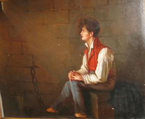 Gefangener Freiheitskämpfer 1806, monogrammiert D.L. - Revolutionär, 1806, Napoleon, Freiheitskampf, Kerker, Gemälde