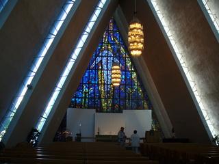 Tromsö Eismeerkathedrale - Norwegen, Tromsö, Eismeerkathedrale, Wahrzeichen, Glasfront, Mosaik, Wiederkunft Christi, Hand Gottes, Fenster, Glasmosaik, Kirche, Altar