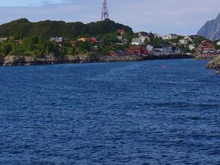 Lofoten - Nordwegen, Lofoten, Insel, Wasser, Meer, Häuser, Himmel, blau