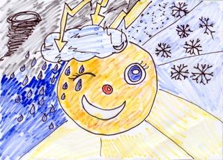 Moderne Wetterzeichung - Wetter, Wettersymbole, Blitz, Regen, Sonne, Wolke, Schnee