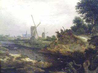 Windmühlen - Holland, Niederlande, Windmühlen, Entwässerung, Entwässerungsgräben, Gemälde