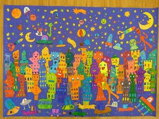 James Rizzi - Weltraumstadt - Haus, Häuser, Emotionen, James, Rizzi, Town, Stadt, Weltraum, All, Raumschiff, Stern, Mondgesicht, Außerirdische, Alien, UFO