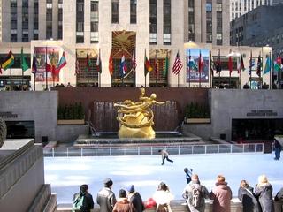New York - Rockefeller Center - Amerika, USA, New York, Rockefeller Center, Eislaufplatz, Prometheus, Gebäudekomplex, Hochhäuser