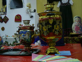 russische Ecke mit Ofen #2 - Russland, Landeskunde, russisch, Ofen, Matroschka, Samowar