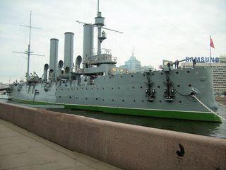 Panzerkreuzer Aurora  - Sehenwürdigkeit, Kriegsschiff, Kreuzer, Schiff, Sankt Petersburg, Russland, Revolution, Landeskunde, Museum