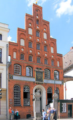 Haus der Schiffergesellschaft, Lübeck - Lübeck, Schiffergesellschaft, Hanse, historisch, Haus, Giebel, Amtshaus, Schiffer, Gesellschaft, Sehenswürdigkeit, Gaststätte, Frührenaissance, Gildehaus
