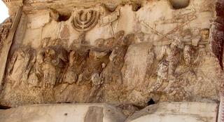 Titusbogen - Detail: Raub des Siebenarmigen Leuchters - Rom, Titusbogen, Relief, Siebenarmiger Leuchter, Judentum, Juden