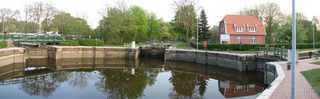 Emden - Historische Kesselschleuse - Schleuse, Kesselschleuse, rund, Wasserstraße