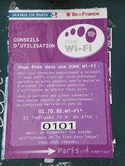 Zone Wi-Fi - Frankreich, civilisation, Paris, Wi-Fi, WLAN, zone, internet, ordinateur, Schild, panneau