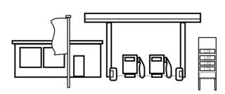 Tankstelle - Gebäude, Tankstelle, Zapfsäulen, Benzin, Gas, Treibstoff, Chemie, Erdöl
