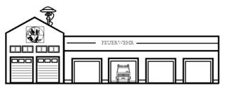 Feuerwehrwache - Gebäude, Stadt, Feuerwehrwache, Feuerwehrstation, Feuerwehr, Brandwache