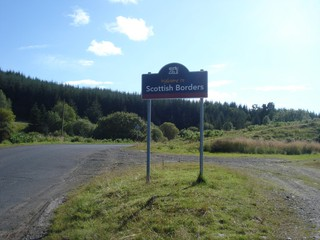 schottisches Grenzschild - Schottland, Scottish Borders, Grenze, Grenzschild