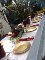 Tischdekoration *Dornröschen*#1 - Tischdekoration, Teller, Märchen, märchenhaft, gold, Becher, Besteck, Serviette