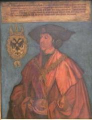 Maximilian I - Dürer, Gemälde, Kaiser, Maximilian I., Kaiser Maximilian I., Nürnberg, Reichsapfel, Wappen, Doppeladler