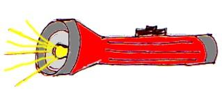 Taschenlampe - Taschenlampe, Lampe, Licht, leuchten, Lichtquelle, Anlaut T, rot, Elektrizität, Strom, Wörter mit sch