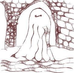 Gespenst im Burgkeller - sw - Geist, Gespenst, Spuk, Spukgestalt, Schreckgestalt, unterirdische Gänge, gruselig, Halloween, Märchen, Horror, erschrecken