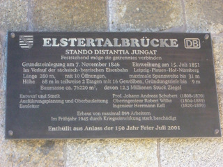 Elstertalbrücke#1 - Brücke, Eisenbahnbrücke, Ziegelsteinbrücke, Elster, Architektur, Schild