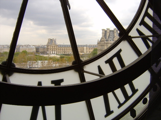 Blick zum Louvre - Frankreich, Paris, Musée d'Orsay, Louvre, Uhr, Perspektive, Blickwinkel, Durchsicht, Aussicht