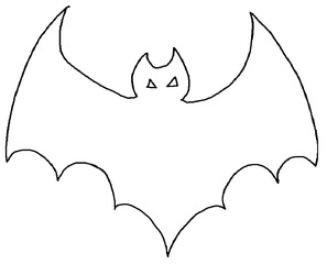 Fledermaus Umrissbild - Umriss, Fledermaus, Zeichnung, Anlaut F, flattern, gruselig, Halloween