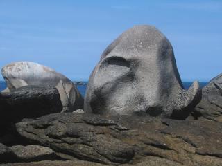 Steinskulptur - Felsen in der Bretagne - Felsen, Steinskulptur, Felsbrocken, Felsskulptur, Felsformen, Küste, Frankreich, Bretagne, Surrealismus, Erzählanlass, Schreibanlass