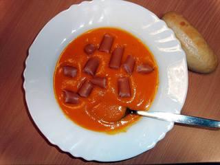 Suppe - Suppe, Anlaut s, Kürbissuppe, Wurst, Würstchen, Teller, essen