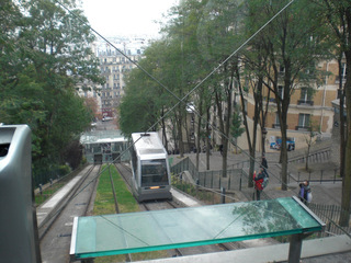 Funiculaire Montmartre - Frankreich, Paris, Montmartre, Standseilbahn, Drahtseilbahn, Verkehrsmittel, Schrägaufzug, Sacre Coeur, Kabine