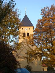 Kirche St. Peter in Gera-Leumnitz#1 - Kirche, Kirchturm, Thüringen, Gera, Bauwerk, Gebäude, romanisch, Romanik