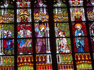 Oppenheimer Kirche #4 - Glaskunst, Kirchenfenster, Rosettfenster, bunt, Oppenheim, Kirche, Glasfenster, Glasscheiben, Bleiverglasung, Gotik, gotisch, Detail