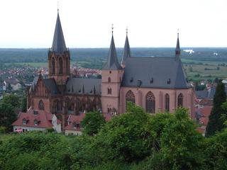Oppenheimer Kirche - Oppenheimer Kirche, Kirche, Kirchenbau, Gotik, gotisch, rot, Sandstein, Oppenheim, Wahrzeichen, Rheintal