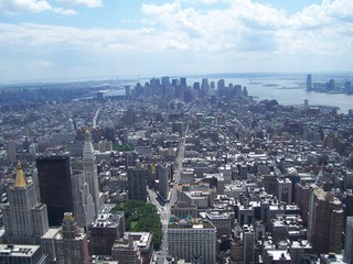 New York  - New York, Empire State Building, Statue of Liberty, Manhattan, Borough, Stadtbezirk, Stadtteil, Hochhäuser, Skyscraper, NY, NYC, East River, Hudson River