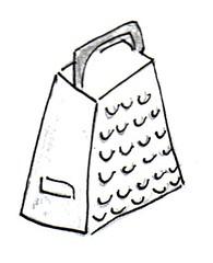 Reibe - Reibe, Küchenreibe, Reibeisen, Raspel, Raffel, Vierkantreibe, vierseitig, Küchengerät, zerkleinern, raspeln, reiben, Reibfläche, Zeichnung