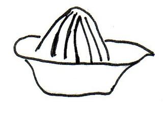 Zitronenpresse - Zitronenpresse, Saft, Zitronensaft, ausdrücken, pressen, auspressen, Küchengerät, Küchenhelfer, Küchenutensilie, Presse, Saft, Saftpresse, Zitronen, Limonen, Zeichnung