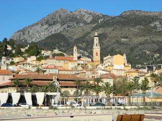 Menton - Frankreich, Côte d'Azur, Mittelmeer, Menton, Alpen, Seealpen, Panorama, Kirche, Jean-Cocteau-Museum