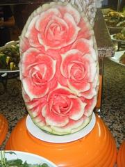 Melonen-Deko#5 - Dekoration, Melone, Südfrüchte, Buffet, Essen, Lebensmittel, Schnitzerei