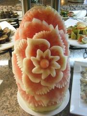 Melonen-Deko#2 - Dekoration, Melone, Südfrüchte, Buffet, Essen, Lebensmittel, Schnitzerei