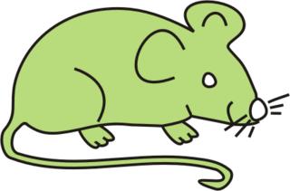 Maus hellgrün - Maus, Nagetier, Anlaut M, fröhlich, Illustration, Farbe, hellgrün