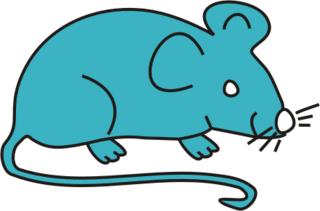 Maus türkis - Maus, Nagetier, Anlaut M, fröhlich, Illustration, Farbe, türkis