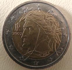 2 Euro Italien - Euro, Münze, Italien, Dante, Dante Alighieri, Alighieri, Raffael, Maler, Dichter, Lorbeerkranz, 2 Euro