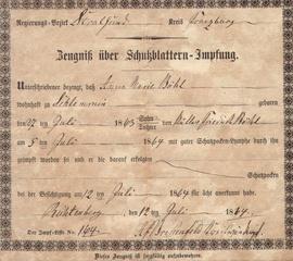 Originaler Impfschein von 1863 - Impfschein, Original, Impfung, impfen, Schutzimpfung, Immunisierung, 1863